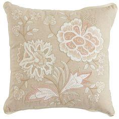 Blush Velvet Applique Flowers Pillow   Pier 1 Imports