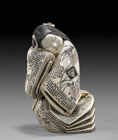 "gardenofthefareast: "" carved ivory okimono of a sleeping beauty """