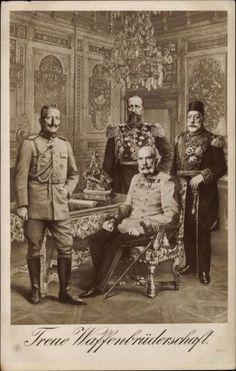 Leaders of Central Powers , 1914 , Kaiser Franz Josef, Franz Josef I, World War One, First World, Die Habsburger, Fürstentum Liechtenstein, Wilhelm Ii, King Of Prussia, Tsar Nicholas Ii
