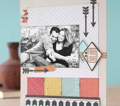 True Love Scrapbook layout page. Make It Now in Cricut Design Space