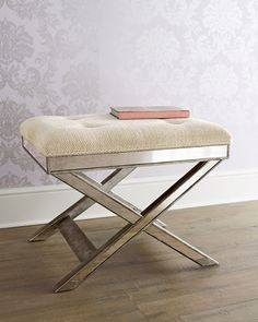 Lila Mirrored X Stool at Horchow.