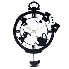 world-chara: Get CDN product: 2 weeks before and after the wall clock ( Rabbit ) Wonderland Alice silhouette design - Purchase now to accumulate reedemable points! Alice In Wonderland Silhouette, Alice In Wonderland Party, Painting The Roses Red, Disney Silhouettes, Pendulum Wall Clock, Disney Fantasy, Mad Hatter Tea, Kirigami, Silhouette Design