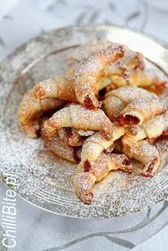 : The crisp croissants with jam Polish Desserts, Polish Recipes, Polish Food, Brownie Recipes, Cookie Recipes, Dessert Recipes, Easter Dishes, First Communion Cakes, Delicious Desserts