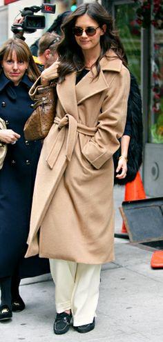 Katie Holmes in a cozy Max Mara coat