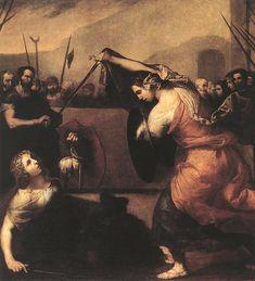 The Duel of Isabella de Carazzi and Diambra de Pottinella by Jusepe de Ribera  Date: 1636