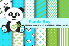 Panda Boy Digital Paper Patterns with Clipart. You will receive: JPEG digital papers in 2 Zip Files. -All digital. Flower Tattoo Drawings, Pattern Paper, Paper Patterns, Creative Sketches, Paint Markers, Pencil Illustration, Business Card Logo, Watercolor And Ink