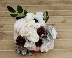 Silk Winter Pine Cone White Anemone Ranunculus and Rose Wedding Bouquet