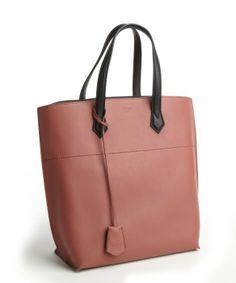 Fendi terra cotta leather top handle tote