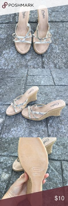 Candie's wedges Snakes skin print straps, braided wedge, women's size 8.5. Never worn. Excellent condition Candie's Shoes Wedges