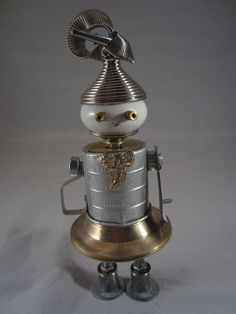 found object sculptures | Luli found object robot sculpture assemblage by Cheri by ckudja, $80 ...