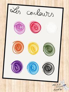 Les couleurs: matériel utilisé pour ma classe avec un enfant de 2ans. Colors: material used for my 2years old class.