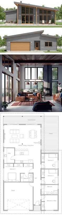 House Plan Home Plan But much smaller - Arquitectura Diseno Cabin Floor Plans, Dream House Plans, Small House Plans, Barn House Plans, Futuristic Architecture, Architecture Design, Casas Containers, House Blueprints, House Layouts