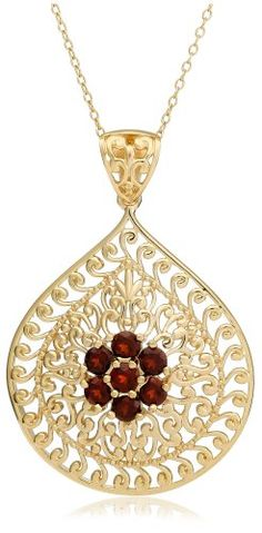 Yellow Gold Plated Sterling Silver Garnet Flower « Holiday Adds