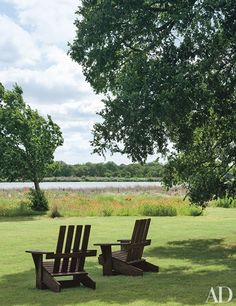 Custom made adirondack chairs with a veiw of the 10 acre lake at the George Bush ranch in Crawford Texas.