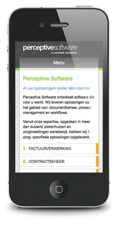 Perceptive Software mobile site, made by Qtag