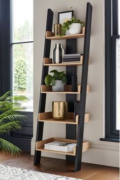 Next Malvern Ladder Shelf - Black Black Ladder Shelf, Ladder Shelf Decor, Ladder Bookshelf, Bookcase Shelves, Corner Ladder Shelf, Black Shelves, Shelving Units, A Shelf, Diy Room Decor