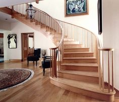 home needs fall décor especially the staircase. If you want more fall moment feelings then you also have to think about stairs design in. Wooden Staircase Design, Painted Staircases, Curved Staircase, Painted Stairs, Railing Design, Stair Design, Staircase Ideas, Wood Stair Treads, Timber Stair