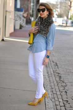 White jeans, faded denim shirt and yellow