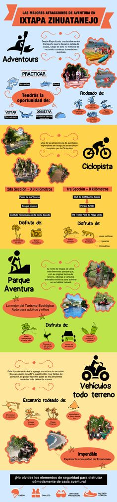 #Infografia sobre las mejores #atracciones de #aventura para disfrutar en #Ixtapa Organiza tu estadía en este destino, con un #hotel #allinclusive desde http://www.bestday.com.mx/Vacaciones-Todo-Incluido/Hoteles/Ixtapa_Zihuatanejo/