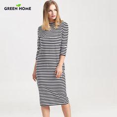 eacb5551efaca Green Home Winter Breastfeeding Nursing Dress Full Sleeve Striped Thick Maternity  Dress For Pregnant Women Breastfeeding