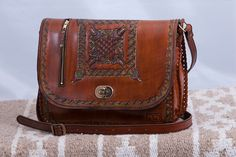 Large Two Compartment Handmade Leather Bag by FromTheSouthernCross