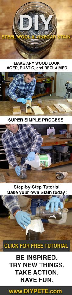 Learn how to make Steel Wool and Vinegar stain to stain wood and give it an aged look. DIY Pete walks you through the steps in a video tutorial. Learn Woodworking, Woodworking Projects Diy, Wood Projects, Woodworking Plans, Woodworking Logo, Woodworking Techniques, Popular Woodworking, Steel Wool Vinegar Stain, Diy Wood Stain