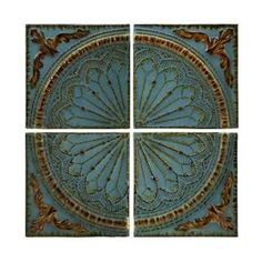Shop for Imax Corporation Blue Quarter Medallion Set Of 4 Wall Panels, and other Accessories at Discovery Furniture. Embossed rustic metal medallion wall decor panels set of four. Iron Wall Art, Iron Wall Decor, Wall Decor Set, Panel Wall Art, Wall Art Sets, Metal Wall Art, Metal Artwork, Decor Room, Murs Turquoise