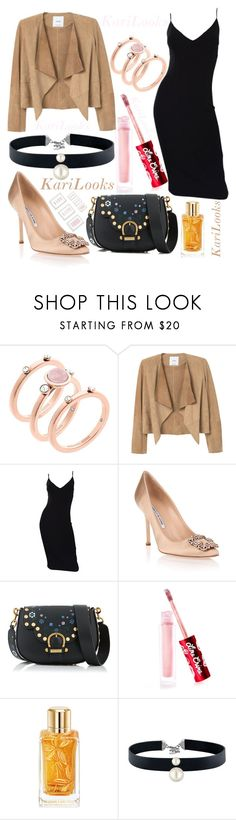 """""""Untitled #230"""" by karilooks ❤ liked on Polyvore featuring Michael Kors, MANGO, Manolo Blahnik, Marc Jacobs, Lime Crime, Lancôme and Majorica"""