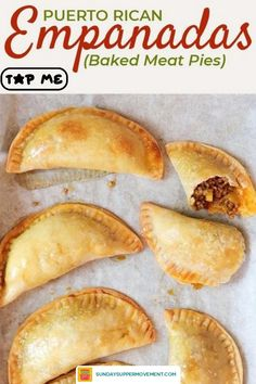Puerto Rican meat pies, also known as baked empanadas, are a flavorful hand pie recipe with a ground beef, sofrito, and potato filling! You can make these easy savory pies with homemade empanada dough or use frozen Goya discos to simplify it even more. #SundaySupper #Empanadas #PuertoRicanFood #MeatPies #AppetizerRecipes #puertoricanrecipes #empanadasrecipe #empanada #beefempanadas #appetizers #handpies #meatpies #savorypies #pierecipe #easyrecipes #dinners #easydinners Pie Recipes, Mexican Food Recipes, Cooking Recipes, Supper Recipes, Cinnamon Recipes, Spanish Recipes, Spanish Food, Latin Food, Meat Appetizers