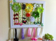 DIY hair bow holder made from a picture frame and ribbon!