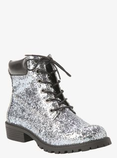 super popular 08606 b4fc7 Shine bright like a diamond wearing these silver glitter combat boots. With  black faux leather