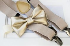 Light metallic gold faux leather bow-tie & tan elastic