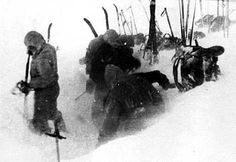 The Dyatlov Pass incident resulted in the deaths of nine ski hikers in the northern Ural mountains on February 2, 1959. Investigators at the time determined that the hikers tore open their tent from within, departing barefoot into heavy snow and a temperature of −30 °C (−22 °F). Although the corpses showed no signs of struggle, two victims had fractured skulls, two had broken ribs, and one was missing her tongue. Their clothing, when tested, was found to be highly radioactive.