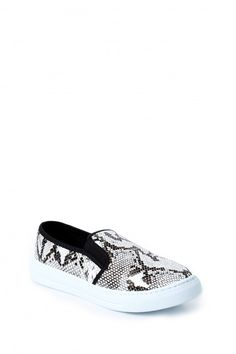 8a447511574b Name Your Poison Black Snakeskin Slip On Sneakers