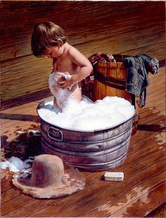 This is exactly how I took baths back in the day.  Out on the porch during summer time and in the kitchen during winter :)