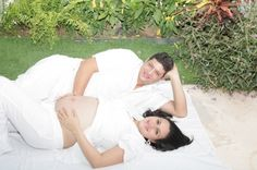 """""""Happy Beautiful Pregnant Woman With His Husband Outdoors"""" by David Castillo Dominici"""