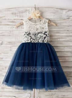 [US$ 59.99] A-Line/Princess Knee-length Flower Girl Dress - Tulle Sleeveless Scoop Neck With Lace (010090292)