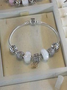 Pandora Bracelets White Blanc Silver Argent Bijoux et charms à retrouver sur www.bijoux-et-charms.fr: