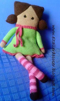 crochet tutorial for doll ♥ Crochet Birds, Crochet Teddy, Crochet Animals, Crochet Toys, Crochet Dolls Free Patterns, Amigurumi Patterns, Amigurumi Doll, Bear Doll, Stuffed Toys Patterns