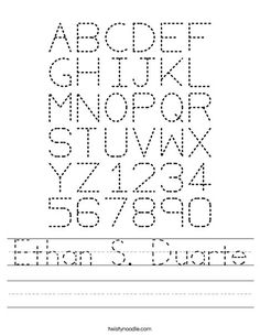 personalize name tracing sheet