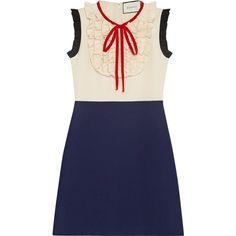 Gucci Silk wool contrast dress ($3,855) ❤ liked on Polyvore featuring dresses, silk dress, ribbon dress, gucci, over the knee dresses and bib dress