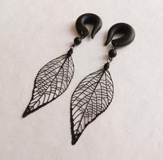 Black Skeleton Leaf Gauged Earrings by TheCreatorsCreations