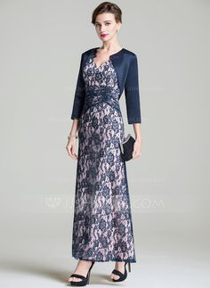 [AU$ 230.00] A-Line/Princess V-neck Ankle-Length Lace Mother of the Bride Dress With Ruffle (008072690)