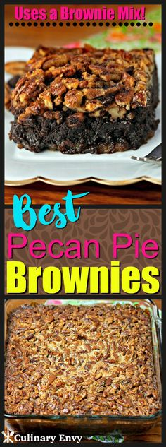 These Best Pecan Pie Brownies are fudgy brownies topped with a crunchy, nutty, buttery brown sugar pecan pie topping that create the perfect gooey dessert. Click to read more!