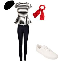 This outfit represents culture in France. It is also representing an accented neutral color scheme. The outfit has an original color scheme of black and white but a touch of red is added with the scarf, resulting in an accented neutral outfit. This is casual and may be worn shopping, going to lunch, etc.