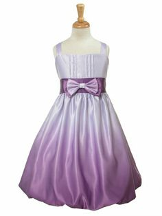 Purple Satin Ombre Bow Tie Dress Style: Sleeveless bodice Irremovable front bow Color graduates from light to dark Knee length Zipper closure Tie back sash Sizes M-XL come with headband and diaper cover Made in the USA Good Girl 3412 Lilac Flower Girl Dresses, Purple Flower Girls, Toddler Flower Girl Dresses, Lilac Dress, Toddler Dress, Tea Length Dresses, Short Dresses, Formal Dresses, Tie Dress