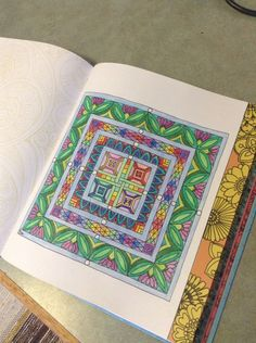 A Geometric Pattern Drawing Using Warm And Cool Colours Pencils