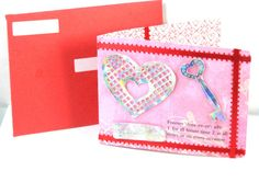 VALENTINE Card Handmade For Friends Unique One of a Kind. This card is a Pop-up card saying LOVE when opened. Has Holographic Hearts and a key from foil. Handmade by Chris of PaperMagicFantastic, $3.50