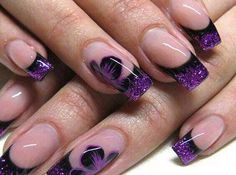 Purple glitter French with black stripes and flowers
