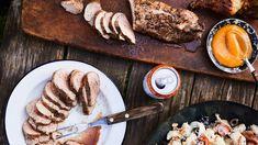 Grilled Pork Tenderloin with Peach-Mustard Sauce Recipe | Bon Appetit